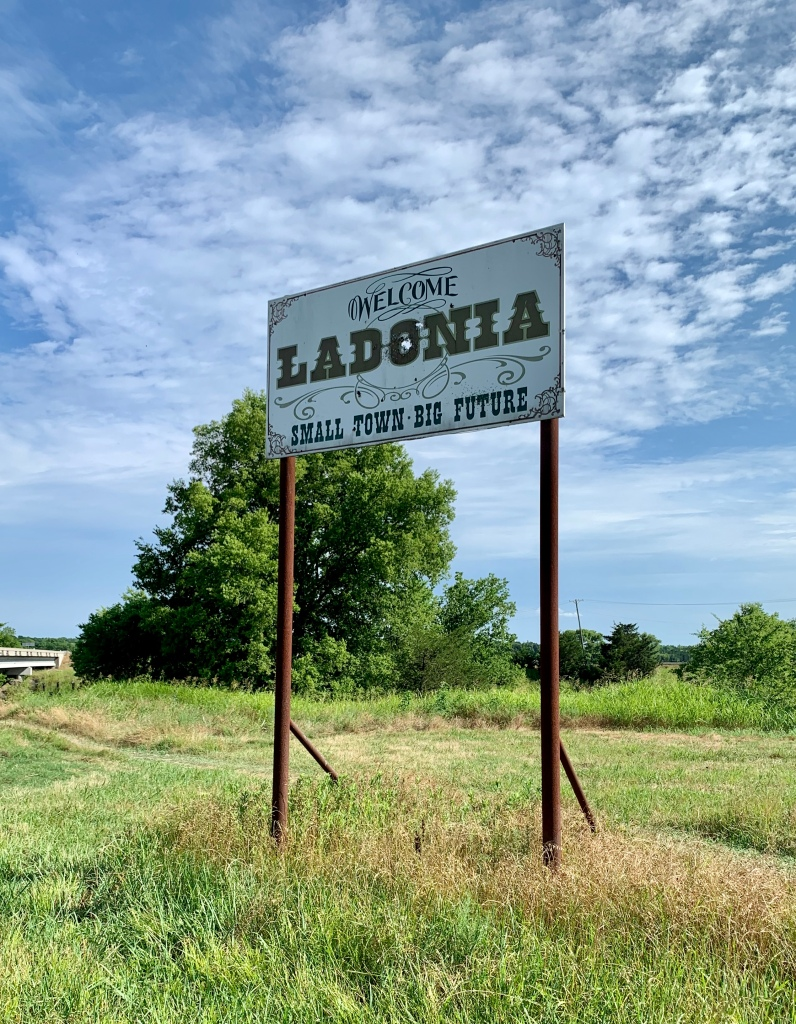 Sign outside Ladonia Fossil Park in Ladonia, Texas, Small Town Big Future